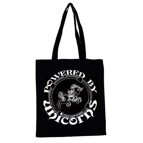 POWERED BY UNICORNS-Borsa/Shopper, Borsa da viaggio, leggera e comoda, & Brony/Bronies/A) Black with White print.
