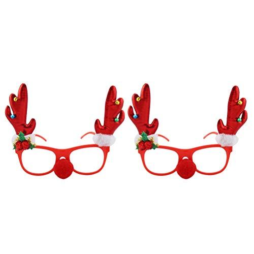 BESTOYARD 2 Stücke Weihnachten Geweih Brille Rahmen Spaßbrille Partybrille Weihnachtsdeko Kinder Erwachsene Rentier Kostüm (Rot)