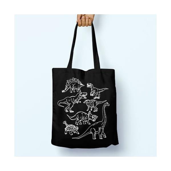 Dinosaur, Illustrated, Shoulder, Tote, Long Handles, Graphic, Cute, Tumblr, Hipster, Beach, Gym, Festival, School, Bag - handmade-bags