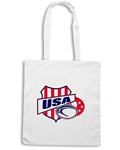 T-Shirtshock - Borsa Shopping TRUG0001 american rugby usa logo Bianco