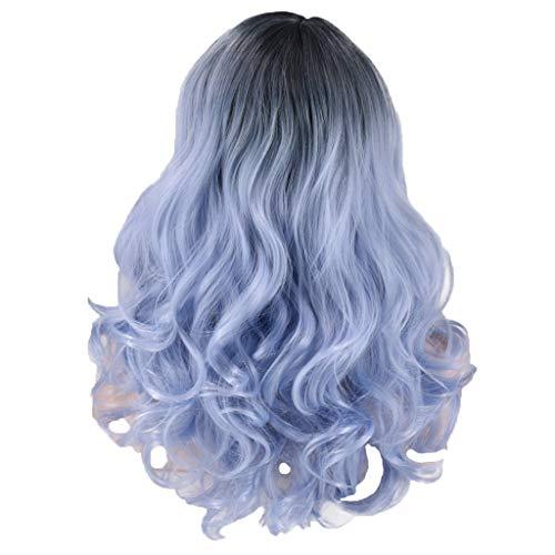 kashyk Damenmode Blau Lange Wellenförmige Synthetische Perücke, dunkle Haarwurzeln 2 Töne Haar Lockige Perücken Welle Locken Perücke Hohe Qualität Für Damen Cosplay Täglichen Party - Twotone Blau Kostüm Perücke
