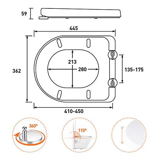 Tapa de WC TACKLIFE, TBTS03B Asiento de Inodoro en Forma de D con Liberación Rápida Tapa de Inodoro con Cierra Suave y Silencioso Fácil de Instalación y Limpieza
