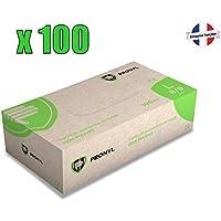 Boite 100 X Gants jetables en Vinyle Non Poudrés Taille M (7/8) (sans Latex)