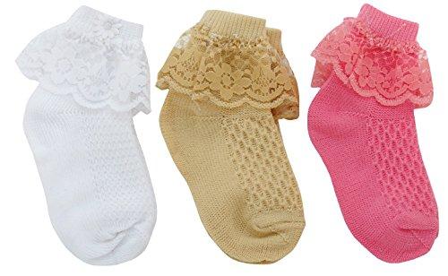 Neska Moda Premium Cotton Ankle Length Multicolor Kids 3 Pair Socks For 1-2 Yrs