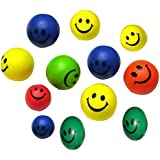 FEITONG 12pcs Mini Neon Smiley Face relaxable Bolas (free size)