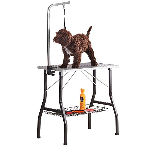 Milo & Misty 30 Small Grooming Table. Non-slip Surface, Portable Folding Dog/Cat/Pet with Stainless Steel, Adjustable Arm & 50cm Noose (78L x 48.5W x 76H cm)