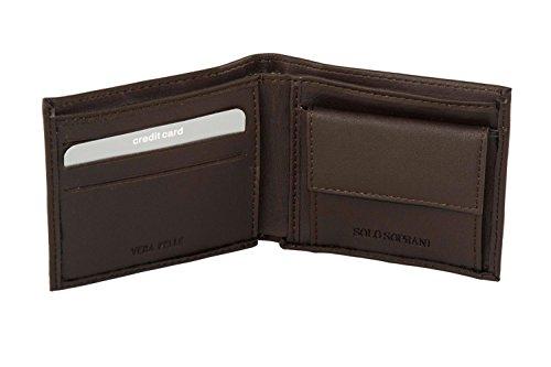 Mini portafoglio uomo SOLO SOPRANI moro in vera pelle con portamonete A4524