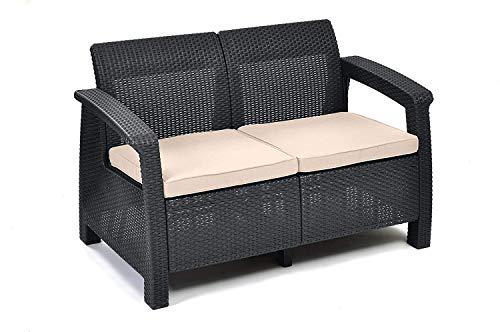 Back 2 Sitz Sofa (Keter Lounge Sofa, Balkon, Korfu, graues Lounge Sofa in Rattanoptik, Lounge 2-Sitzer)