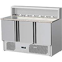 Zorro - Pizzatisch ZTHPS903 - 3 Türen - Kühltisch mit Granitplatte - Salatkühlung - Gastro Belegstation