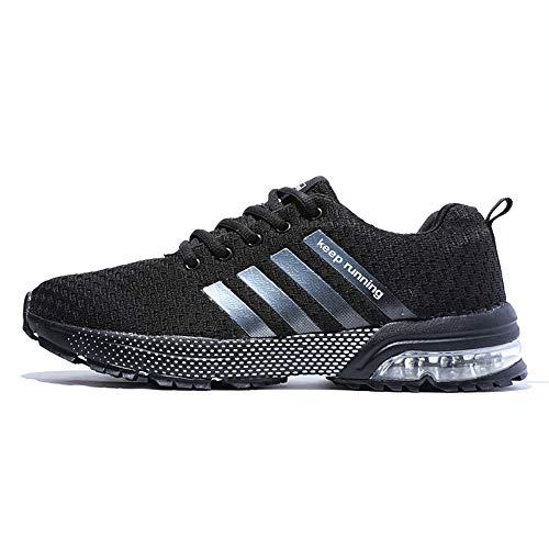 FUSHITON Chaussures de Course Air Coussin Semelle Respirant Confort Sport Athlétique Sneakers Baskets Femmes Hommes, Noir-3, 43 EU