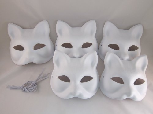 Mask Fox White (Hope you're painting fun Tick Nick everyone! Set of 5 / Costume fancy dress cosplay tool DIY handmade mask mask mask summer festival white fox Mask deals (japan)