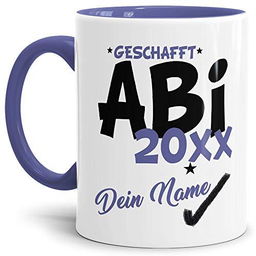 Tassendruck Abi-Tasse Geschafft Abi 20XX - Selbst gestalten mit Jahr und Name zum bestandenen Abitur/Schule/Lehrer/personalisierte Geschenk-Idee/Innen & Henkel Cambridge Blau