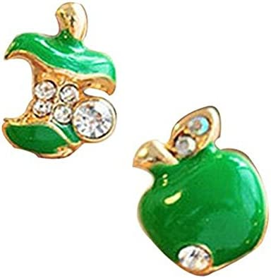 Leier moda Color Mix joyería barata pendientes para las mujeres asimétrico rojo y verde de Apple Stud Pendientes