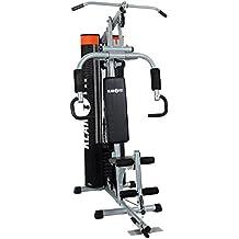 Klarfit The Mountain máquina de fitness (entrenamiento de dorsales, tracción por cable para mano y pie, butterfly, press banca, remo, estiramientos, 100 kg de carga máxima)