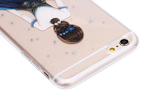 Paillette Coque pour iPhone 7 Plus/8 Plus,iPhone 8 Plus Coque Silicone Étui Ultra Mince Housse, iPhone 7 Plus Souple Coque Etui en Silicone, iPhone 7 Plus Silicone Case Soft TPU Cover, Ukayfe Etui de  Dame robe bleue