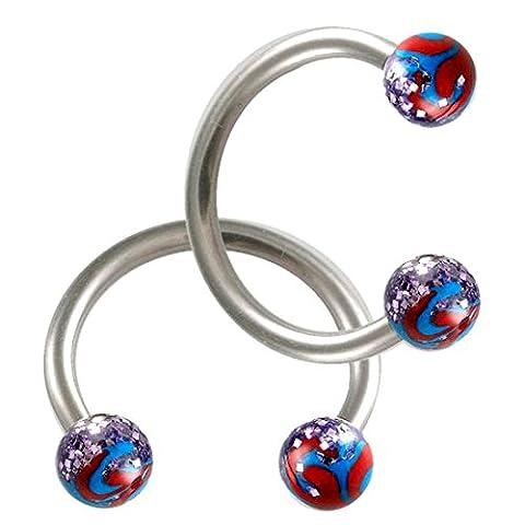 2er set 1,2mm 10mm Stahl Hufeisen Lippen Piercing Augenbrauen ring Ohr Circular Barbell körperschmuck BDHI