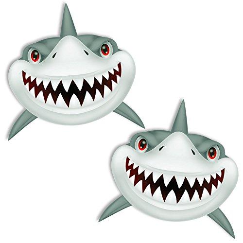2 Stück Vinyl Aufkleber Autoaufkleber Hai Haifisch Zähne Shark Teeth Fischen Meerestier Fischerboot Surfboard Stickers Spiegel Auto Moto Motorrad Fahrrad Helm Fenster Tür Tuning B 280