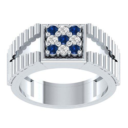 0,22Karat Brillantschliff rund blau Saphir & Diamant Verlobungsring Hochzeit Band Ring in 925Silber
