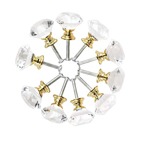 SODIAL Diamant Form Kristall Glas 30Mm Küche Schrank Tür Schublade Griff Schrank Kommode Kleiderschrank Griff Mit Schrauben, 10 Stücke Türgriff Gold (Türgriff Gold)