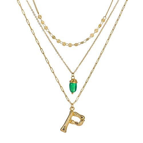 wangzz Collana con Ciondolo Alfabeto in Oro 26 A più Strati Paillettes in Pietra Verde Collane con Lettera Iniziale per Donna