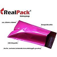 Realpack - Bolsas de plástico para envíos postales (100 unidades, tamaño 30,5 x 40,6 cm, 305 x 406 mm, 40 mm, con borde de 40 mm), color rosa