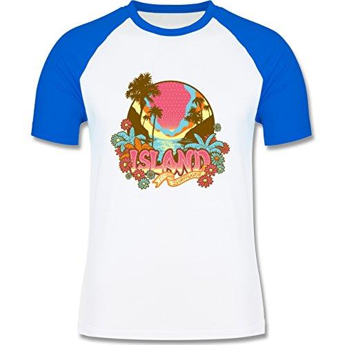 Blumen & Pflanzen - Urlaub Surfer - zweifarbiges Baseballshirt für Männer Weiß/Royalblau