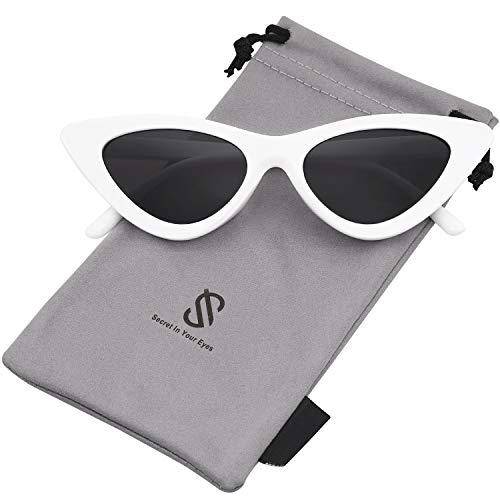 SOJOS Katzenauge Rahmen Mode UV-Schutz Damen Sonnenbrille Cat Eye SJ2044 mit Weiß Rahmen/Grau Linse