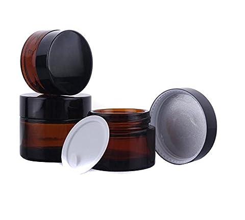 Lot de 3bocaux en verre brun Maquillage Rechargeable vide Crème Visage Baume à lèvres pot de rangement Bouteille avec couvercle Noir (30ml)