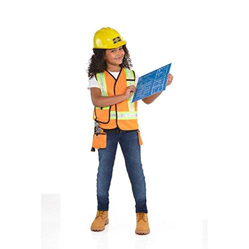 Bauarbeiter Set für Kinder Kostüm Jungen Mädchen Warnweste Werkzeuggürtel ()