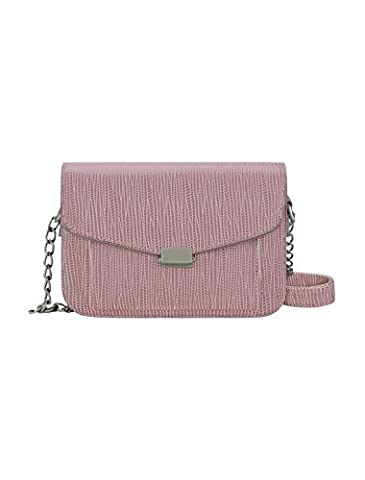 sourcingmap® Women Chain Strap Push-lock Flap Closure PU Shoulder Bag Pink