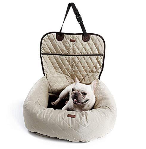 LOHUA Autositzkissen Haustier, Tierbett,Haustier Hund Katze Auto Booster Sitz Tasche Träger Pet Bed & Lounge,Beige (Träger Pet-booster)