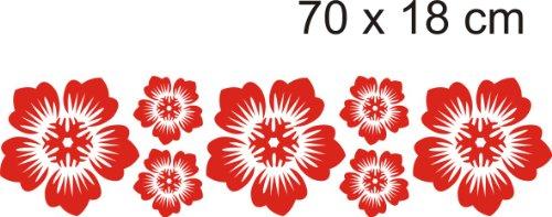 Aufkleber Motiv Blumen 10 Größe 70 cm x 18 cm Farbe rot
