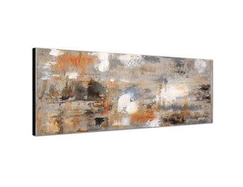 Keilrahmenbild Wandbild 150x50cm Kunstmalerei braun grau abstrakt