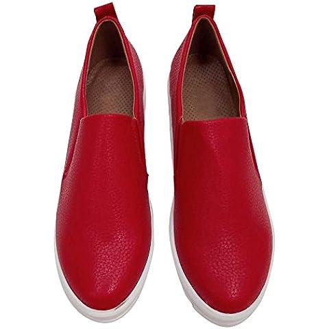 Hengfeng Forma Plana Cuero de Mujeres Zapatos Casuales