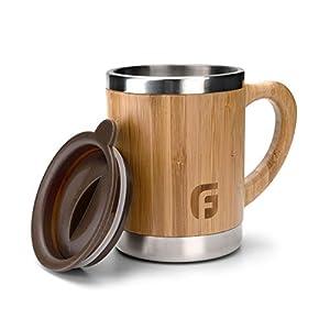 41BCVTCZqrL. SS300  - GranFore Edelstahl Tasse mit Deckel | 300ml Bambus Kaffeebecher | Öko Coffee to Go Becher