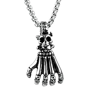 Beydodo Schmuck Titan Herren Halskette mit Anhänger Schädel Totenkopf Hand Hip Hop Kette Partnerkette Silber