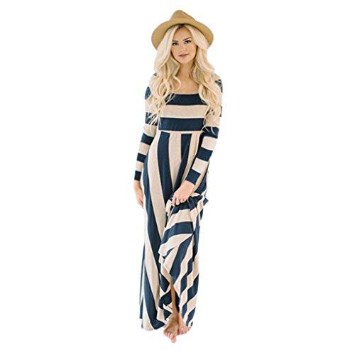 Lazzboy Womens Fashion Long Sleeve Zebra Striped Evening Party Loose Maxi Dress