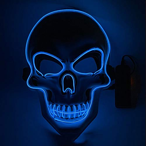 XIAO RUI LED leuchten Maske Halloween Kostüm Schädel volles Gesicht für Cosplay Horror Prop Gesichtsmaske fluoreszierend grün , Größe: 22X17CM,003 (Kostüm Strahlung Halloween)