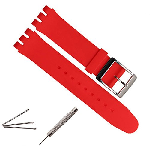 greenolive-19mm-replacement-waterproof-silicone-rubber-watch-strap-watch-band-red