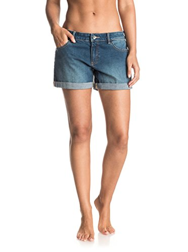 Roxy Damen ROLLYUP Rolly Up Denim-Shorts, Dark Blue, 26 - Quiksilver Blue Denim