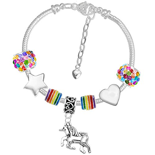 horn Glitzer Regenbogen Charm Armband Set mit Grußkarte und Geschenk-Box (Armband Geschenk-box)