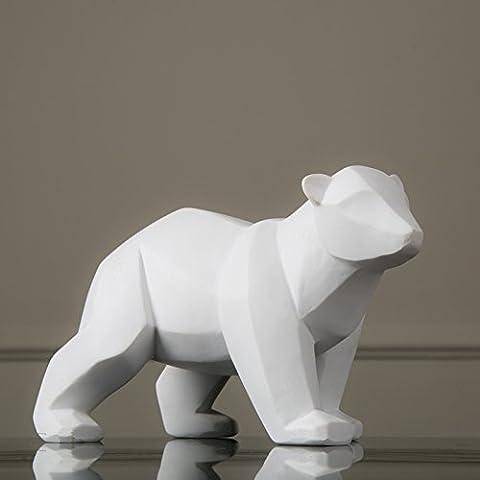 LQK-Simulazione di villaggio americano di resina artigianato creativo orso polare bianco ornamenti regali , 28.5*17.5*18cm l