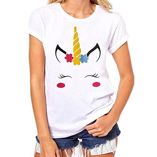 Hevoiok Damen Kurzarm-Shirt Cartoon Einhorn Drucken Tier Bluse Neu Frühling Sommer T Shirt Frauen Casual Süß Tops Oberteile (Weiß, 3XL) (Modal-Ärmellos)