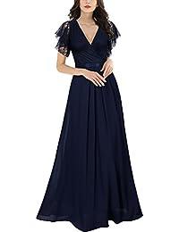 MIUSOL Robe de Soirée Dentelle Cocktail Longue Pour Mariage Femme,Fleur Robe de Fete Col V Femme Vintage Retro Sans Manches