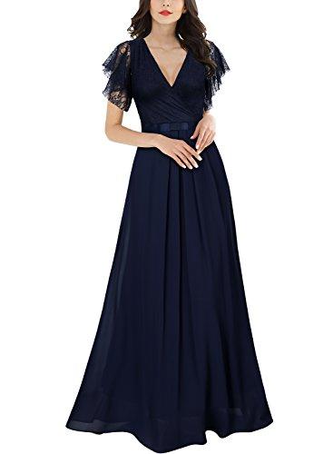 Miusol Damen Aermellos V-Ausschnitt Spitzenkleid Brautjungfer Cocktailkleid Chiffon Faltenrock Langes Kleid Navy Blau Groesse 44/46/XL