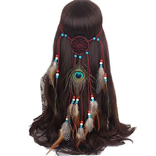 Lisansang Damen Blume Stirnband Bohemia Tribal Indian Dekoration für Maskerade Fancy Hippie Headpiece Hair Damen Krone Blume, Damen Hochzeit Kranz, Blume Kro
