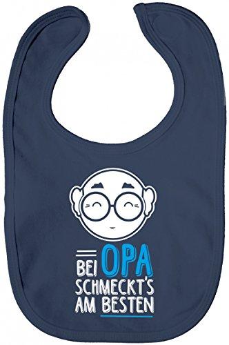 Geschenkidee Geburt Baby Lätzchen Baumwolle Baby Bib Mädchen Jungen Bei Opa schmeckts am besten, Größe: onesize,Nautical Navy -