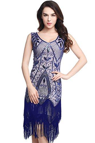 ArtiDeco 1920s Kleid Damen Retro 20er Jahre Stil Flapper Kleider mit Fransen V Ausschnitt Gatsby Motto Party Kleider Damen Kostüm Kleid (Blau, M (Fits 78-84 cm Waist & 92-95 cm Hips)) (Blau Und Gold Kleid Kostüm)