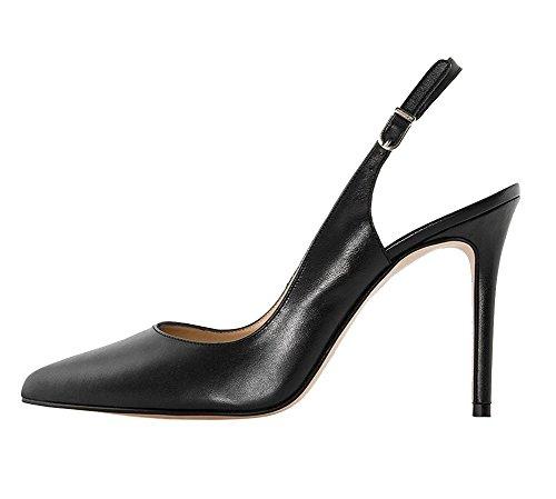 EKS Damen Elegante Spitzschuh Dünne Fersen Slingback Matte Dress Court Schuhe Schwarz 38EU (Ferse Damen-komfort-schuhe)