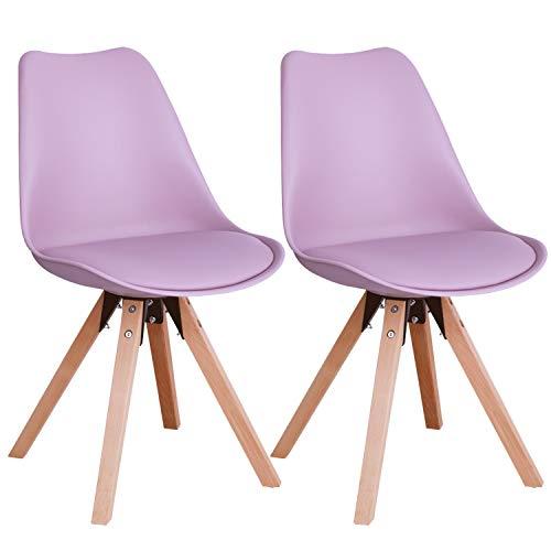 Duhome Stuhl Esszimmerstühle Küchenstühle !2 er Set! in Pink Rosa Küchenstuhl mit Holzbeine Sitzkissen TYP9-518M Esszimmerstuhl Retro...